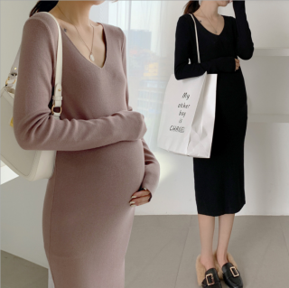 妊娠後期におすすめ シンプルかわいいストレッチ素材の長袖ワンピース 2色