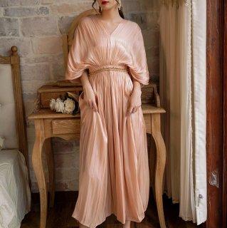 マタニティフォトにも 上品かわいい艶カラーのゆったりシフォンロングドレス ワンピース 2色
