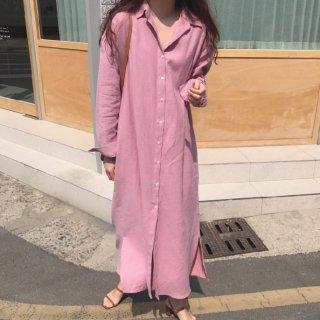 妊娠中から産後まで ゆったりシルエットで体型カバーできる長袖ロングのシャツワンピース 2色