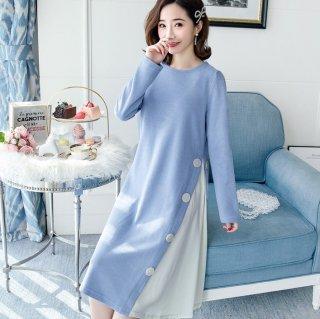 妊娠後期におすすめ サイドのバイカラーがおしゃれな長袖ゆったりワンピース 3色