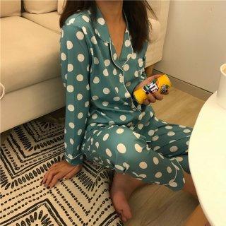 出産準備におすすめ バイカラーのドット柄がおしゃれな長袖パジャマ ルームウェア 3色