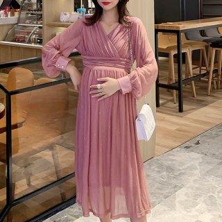 妊娠後期でも安心 ラメ入りシフォンが個性的でかわいい長袖ロングのゆったりワンピース 2色
