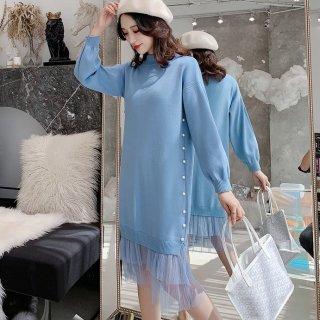 妊娠後期でも安心 レイヤード風フリルがかわいいパール付き長袖ゆったりワンピース