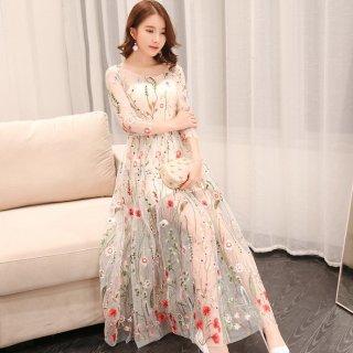 ボタニカル刺繍で上品かわいいシースルーシフォンのカジュアルロングドレス ワンピース