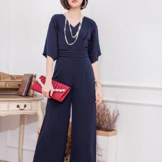結婚式や二次会に シンプルだけどおしゃれなワイドパンツの半袖オールインワン パンツドレス 3色