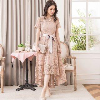 結婚式や二次会に マーメイドスカートが大人かわいい総レースの半袖ロングワンピース 4色