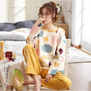 妊娠中から産後にも おしゃれな海外デザインの長袖セパレートパジャマ ルームウェア