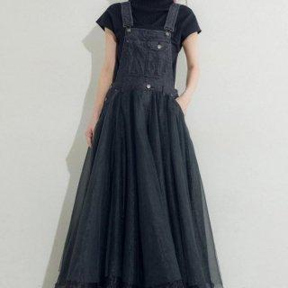 個性的でかわいい海外デザイン チュールドッキングのデニムオーバーオール サロペット 2色