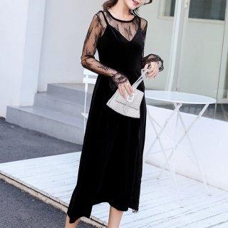 お呼ばれドレスにおすすめ フェミニンな刺繍シースルーの長袖のロングワンピース
