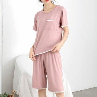 出産準備におすすめ 授乳口付きゆったり半袖とハーフパンツのセパレートパジャマ 2色