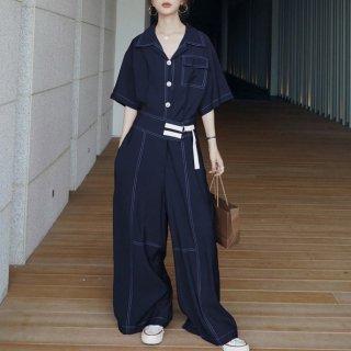 個性的でかわいい海外デザイン ワイドシルエットのゆったりパンツオールインワン 2色