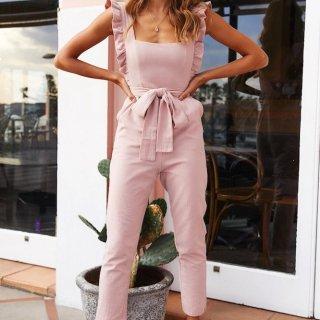 個性的でかわいい海外デザイン 大人かわいいフリルショルダーのサロペットパンツ 3色