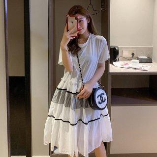 妊娠後期にもおすすめ ふんわりティアードスカートがかわいい半袖フレアワンピース 2色