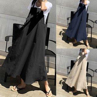 きれいめカジュアルなおしゃれデザイン ゆったりシルエットのロングスカートサロペット 3色