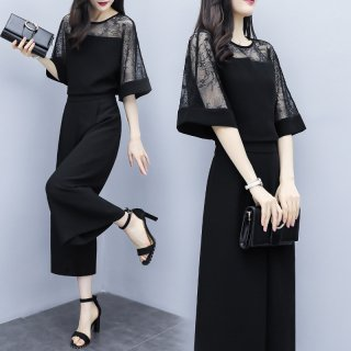 人気の海外デザイン 大人かわいいフレアなレース袖のゆったりパンツドレス セットアップ