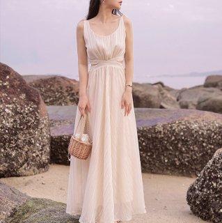 マタニティフォトやリゾートウェディングにも 上品かわいいシフォンのフレアロングワンピース ドレス