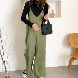 きれいめカジュアルな海外デザイン ワイドパンツのサロペット オールインワン 2色