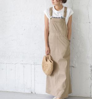 おしゃれに体型カバー シンプルかわいい人気のオーバーオールスカート6色