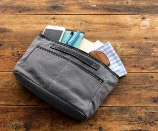 帆布とレザーのバッグinバッグ インナーバッグ グレー