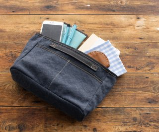 帆布とレザーのバッグinバッグ インナーバッグ ネイビー