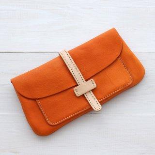 本牛革レザーウォレット/長財布 ビギン (オレンジ)