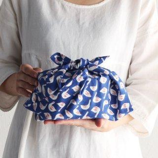 SUVALNA あづま袋(東袋)Sサイズ 木版染め(ブロックプリント) スワン×ブルー