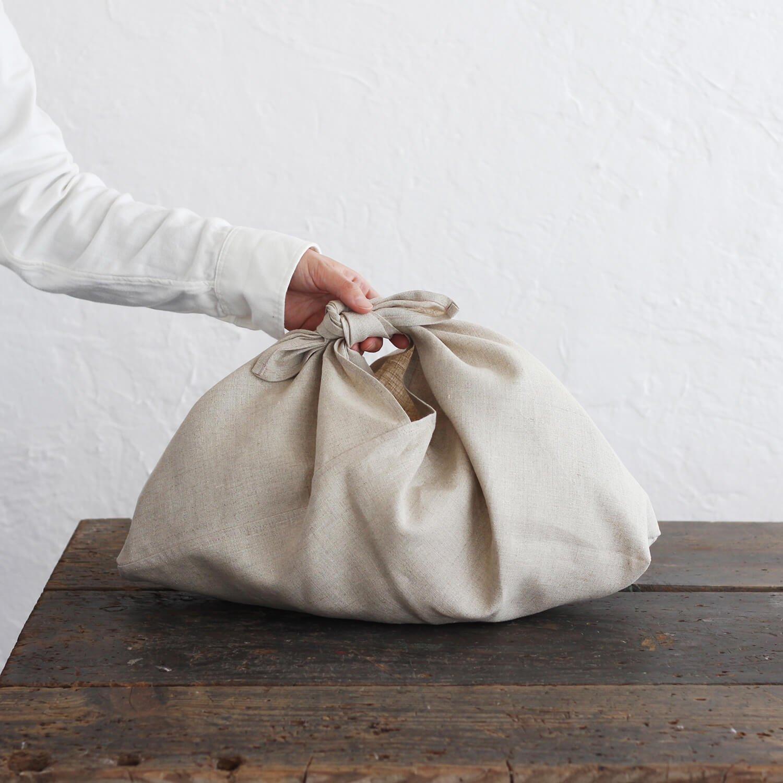 リネン あづま袋 M 50cm バッグinバッグ、かごバッグに