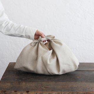 alinのあづま袋 M 50cm かごバッグに リネンあずま袋 マチ付き (ナチュラル)