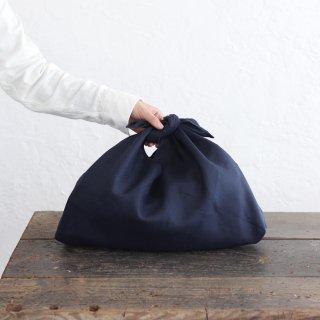 alinのあづま袋 M 50cm かごバッグに リネンあずま袋 マチ付き (ネイビー)