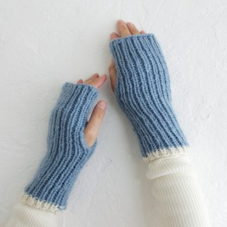 羊毛100% リブ編みハンドウォーマー ハーフミトン (アイスブルー)