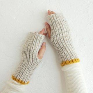 羊毛100% リブ編みハンドウォーマー ハーフミトン (ライトグレー)