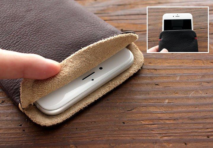 iPhone 11 Pro Max/iPhoneXS Max(6.5インチ)/iPhone8 Plus/7 Plus(5.5インチ)本牛革レザースリーブケース