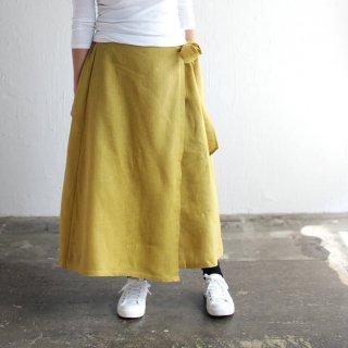 リネン ラップスカート (マスタード*裏地ブラウン)