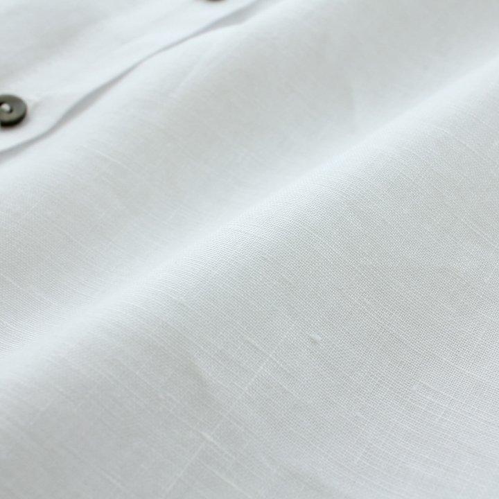 リネン スタンドカラー 前開き羽織り ワンピース