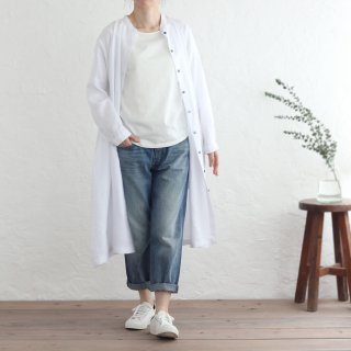リネン スタンドカラー 前開き羽織り シャツワンピース (ホワイト)