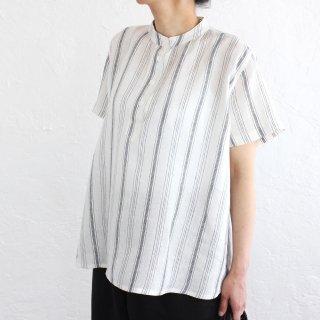 リネン スタンドカラー プルオーバーシャツ (ホワイト*ストライプ)