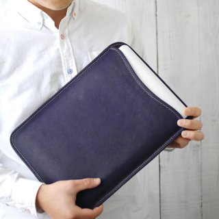 MacBook(13インチ) 本革レザースリーブケース(ネイビー)