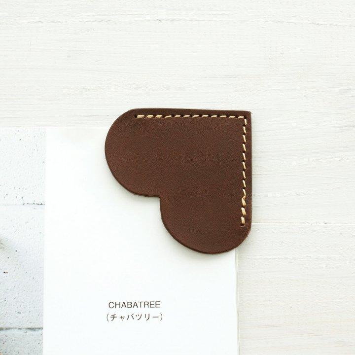本牛革 オイルレザー ハートのブックマーク 栞