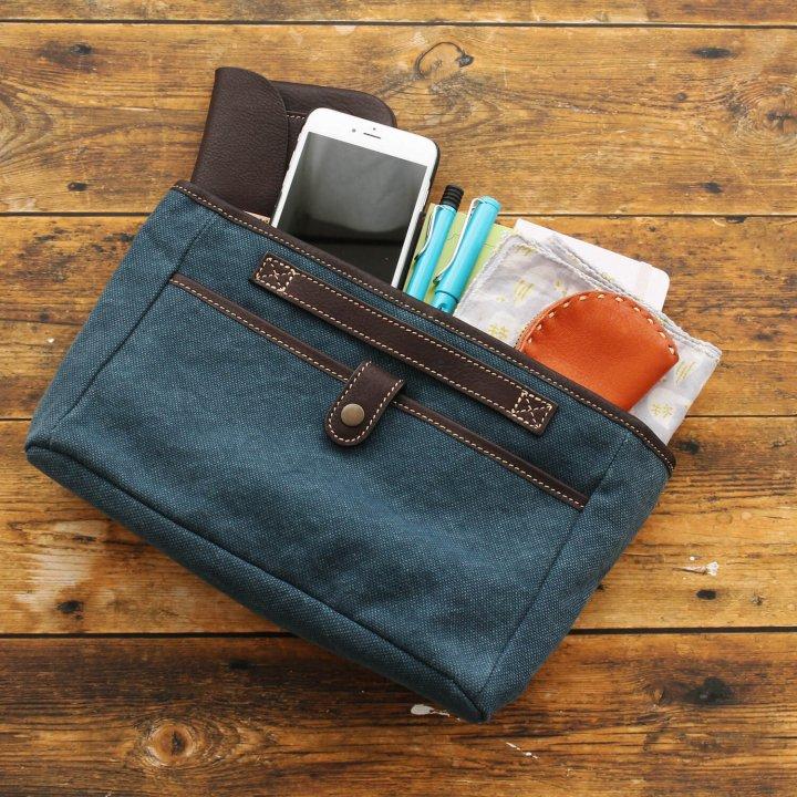 帆布とレザーのバッグinバッグ インナーバッグ