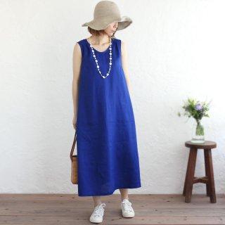 リネン ノースリーブ ロング丈 サマードレス ワンピース (ブルー)