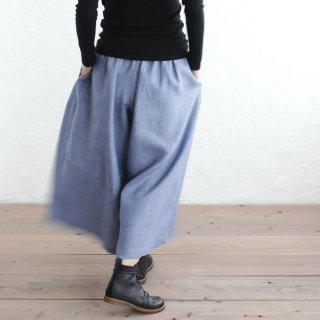 リネン ワイドパンツ ロング丈スカーチョ (スモーキーブルー)