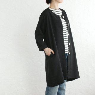 リネン ノーカラーAライン スプリングコート 羽織(ブラック)