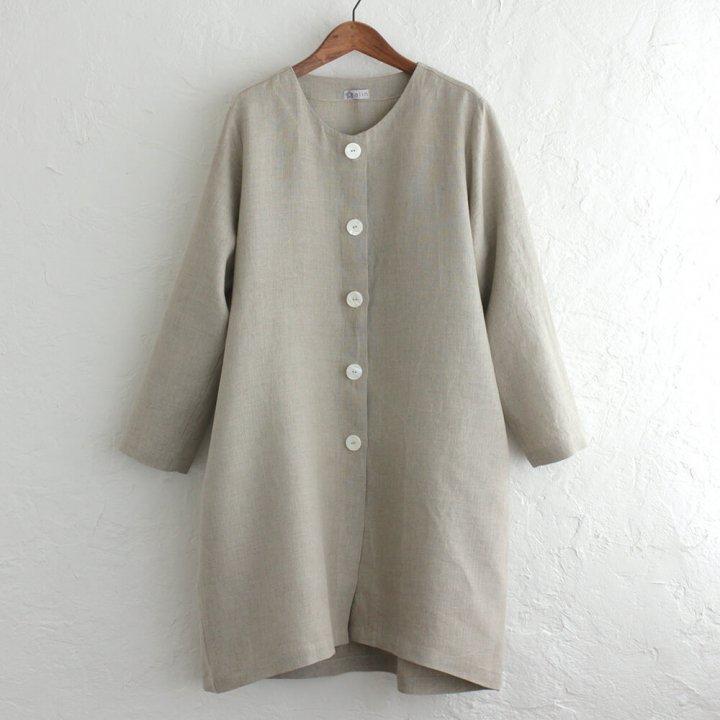 リネン 丸襟ノーカラーコート ゆったりサイズ 麻羽織 貝ボタン付き