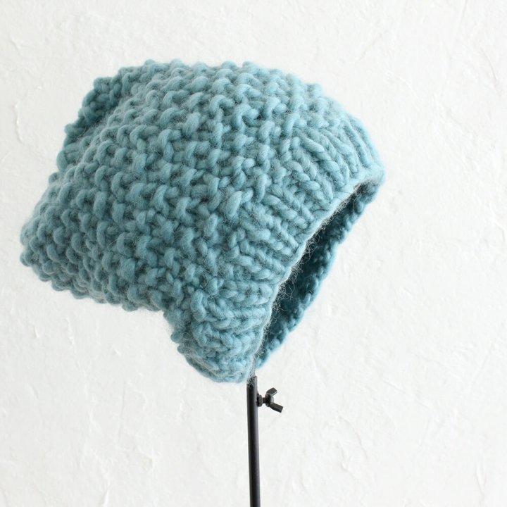 ウール100% 鹿の子編み ふんわりニット帽