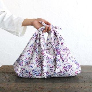 alinのあづま袋 M 50cm かごバッグに バティックあずま袋 マチ付き (蝶/ホワイト)