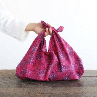 alinのあづま袋 M 50cm かごバッグに バティックあずま袋 マチ付き (花/ピンク)
