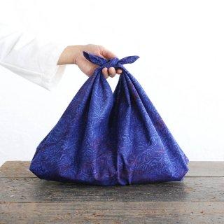 alinのあづま袋 M 50cm かごバッグに バティックあずま袋 マチ付き (水草/ネイビー)