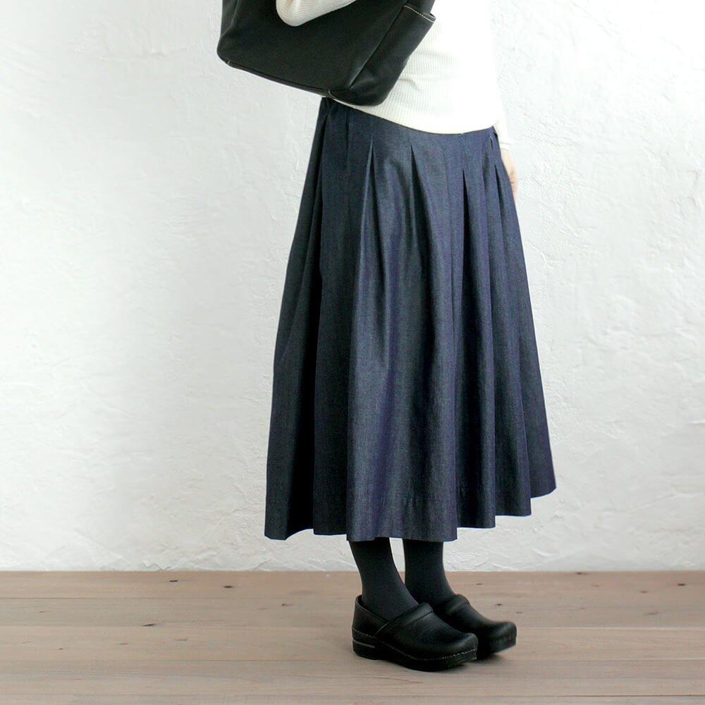 コットンデニム プリーツスカート ミモレ丈