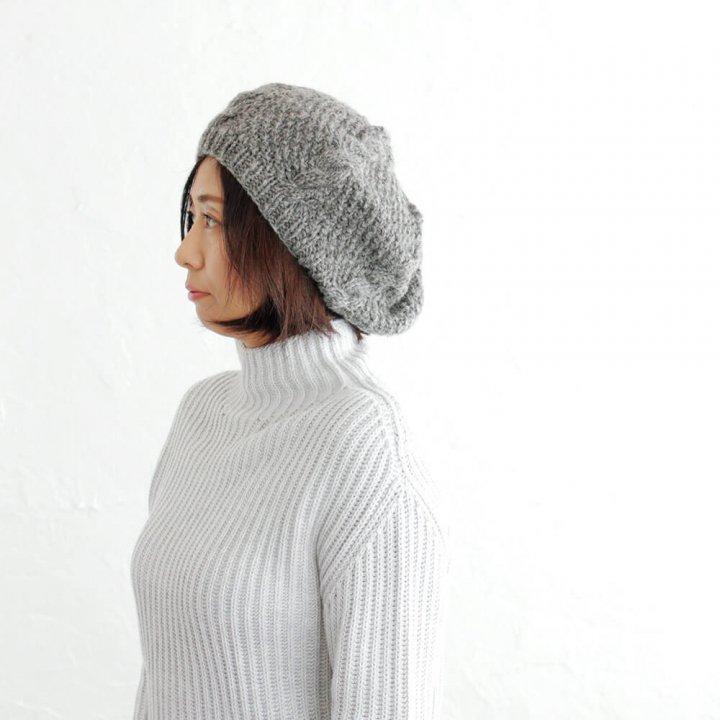 羊毛100% アラン模様ニットベレー
