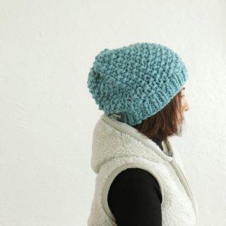 ウール100% 鹿の子編み ふんわりニットキャップ(オールドブルー)